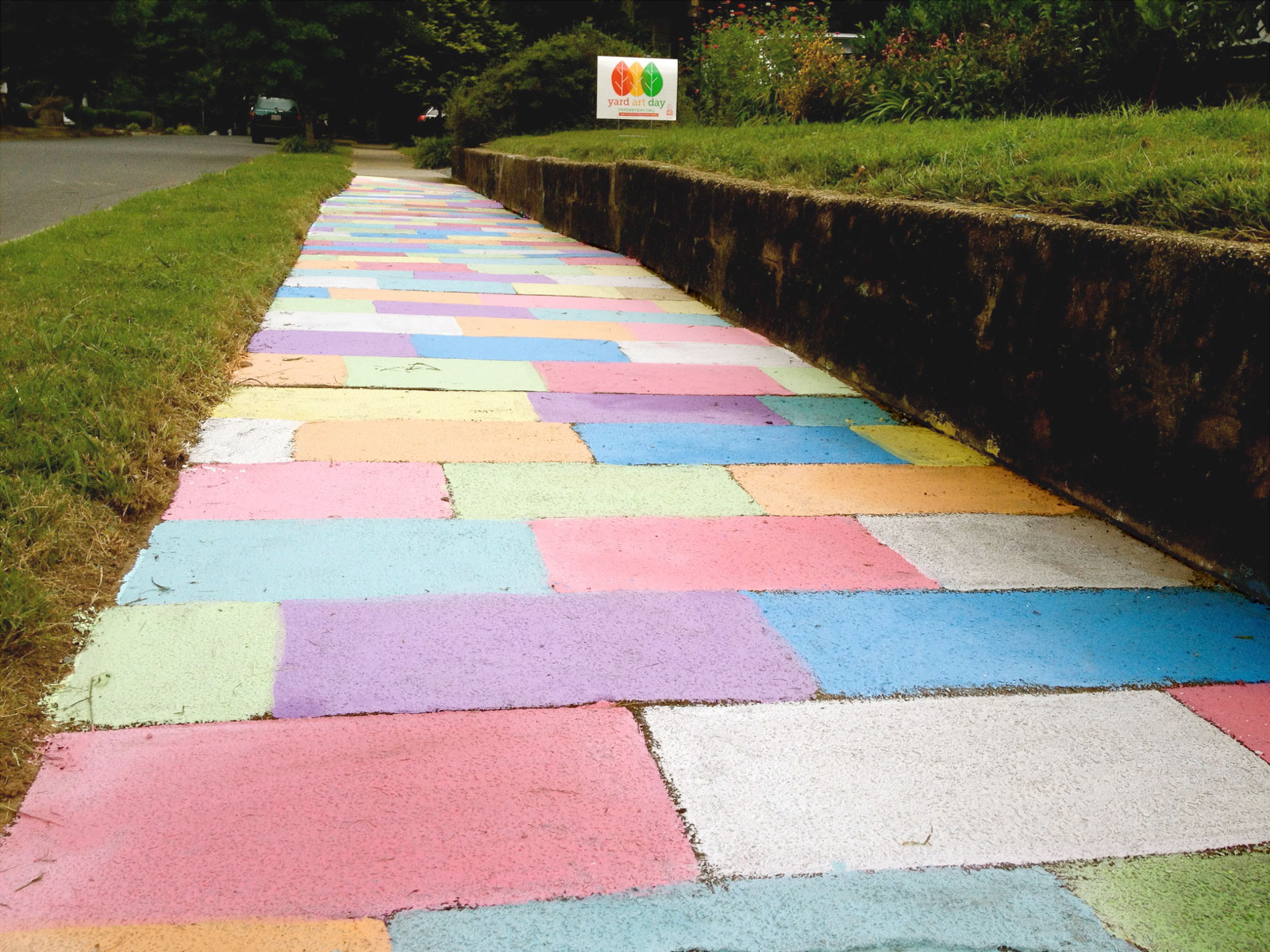 Follow the rainbow brick road.