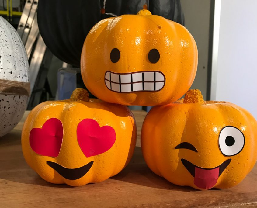 Last But Not Least The Emoji Pumpkins Which We Didn T Get To Discuss In Segment I Bought 3 Foam At Dollar And Painted Them Yellow